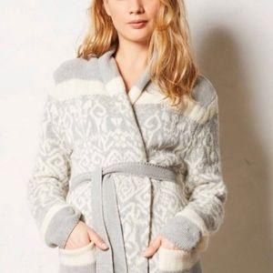 Anthropologie Eloise Grey Intarsia Cardigan Robe
